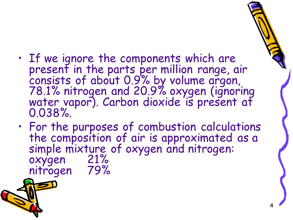 If we ignore the components which are present in the parts per million range, air consists of about 0.9% by volume argon, 78.1% nitrogen and 20.9% oxygen (ignoring water vapor). Carbon dioxide is present at 0.038%.