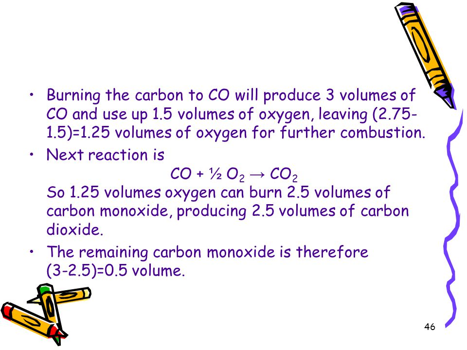 Burning the carbon to CO will produce 3 volumes of CO and use up 1