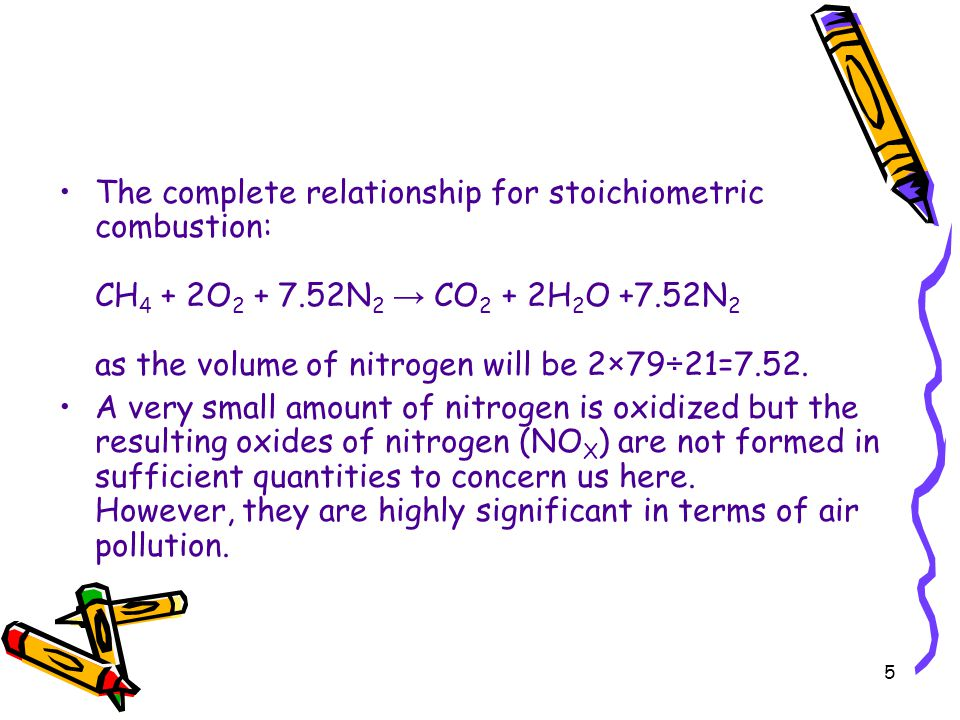The complete relationship for stoichiometric combustion: CH4 + 2O2 + 7