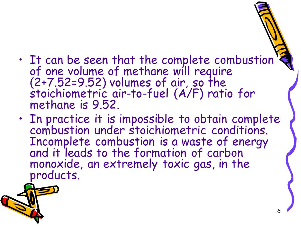 It can be seen that the complete combustion of one volume of methane will require (2+7.52=9.52) volumes of air, so the stoichiometric air-to-fuel (A/F) ratio for methane is 9.52.