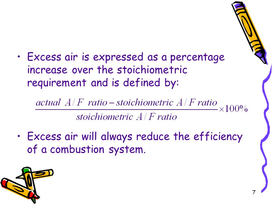 Excess air is expressed as a percentage increase over the stoichiometric requirement and is defined by: