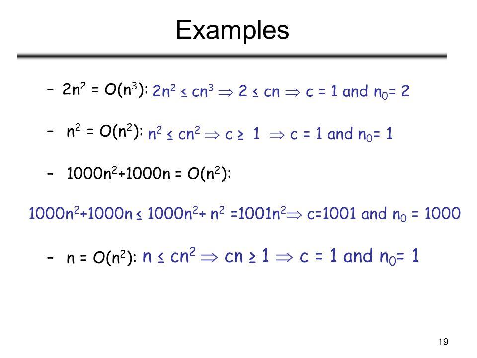 Examples n ≤ cn2  cn ≥ 1  c = 1 and n0= 1 2n2 = O(n3):