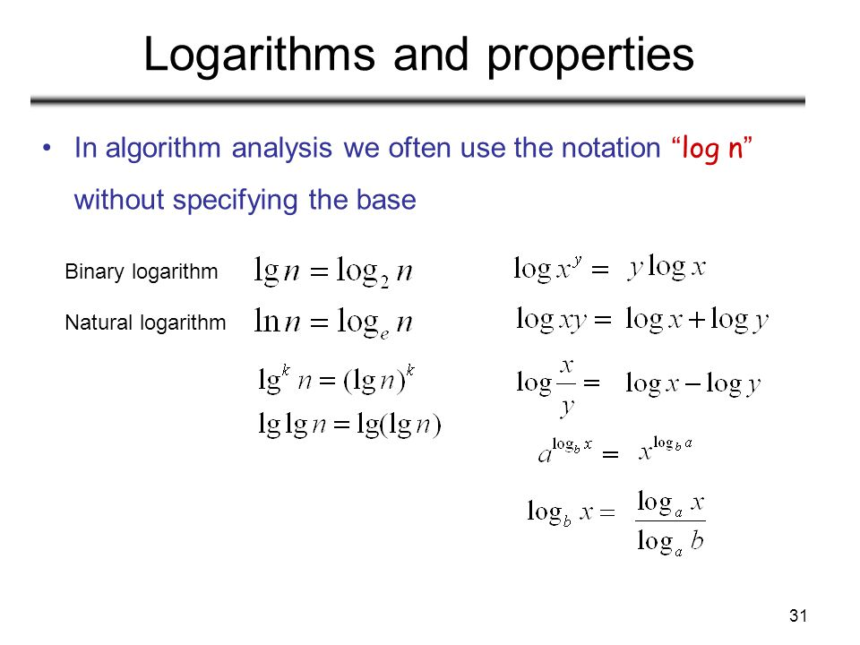 Logarithms and properties