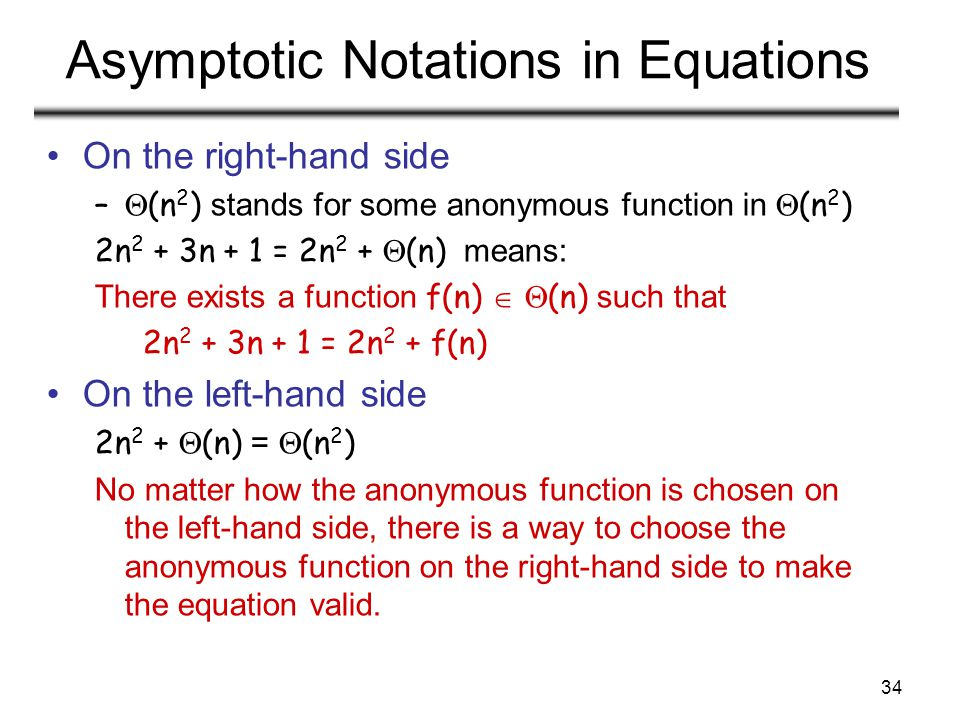 Asymptotic Notations in Equations