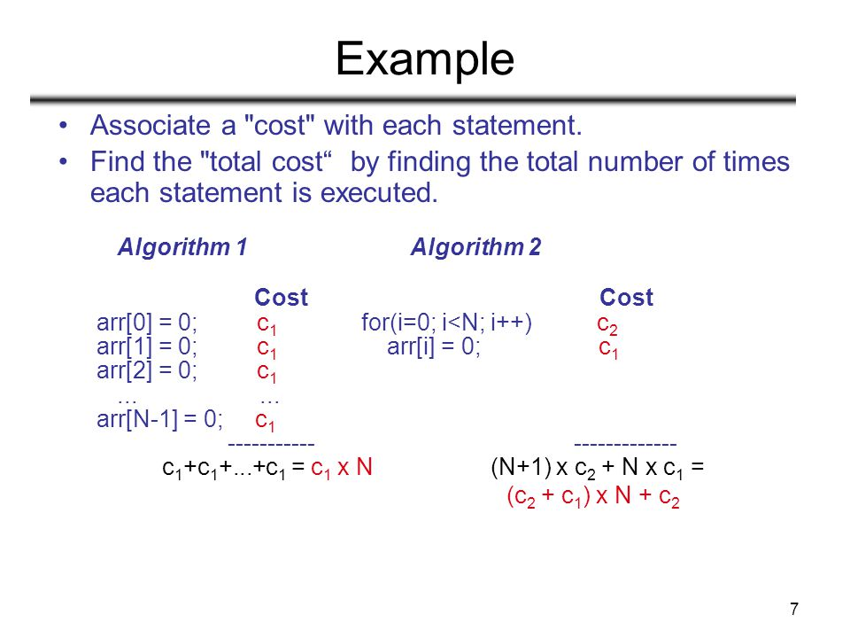Example Associate a cost with each statement.