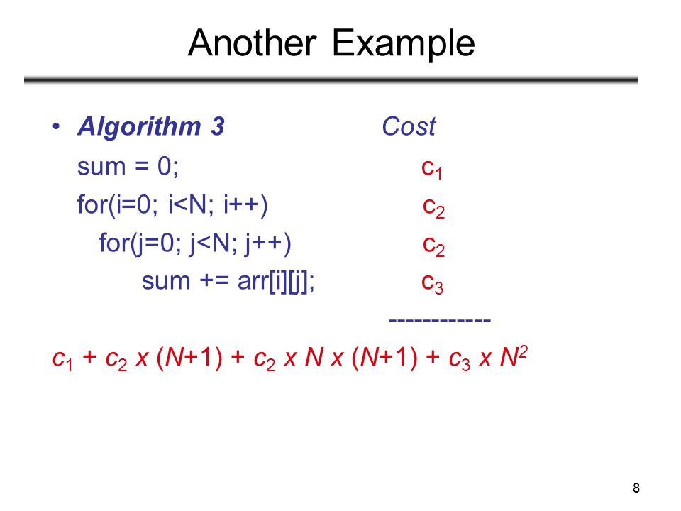 Another Example Algorithm 3 Cost sum = 0; c1 for(i=0; i<N; i++) c2