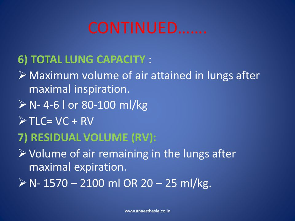 CONTINUED……. 6) TOTAL LUNG CAPACITY :