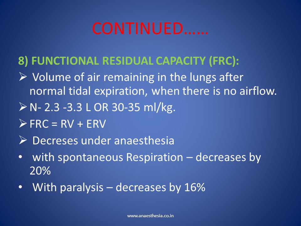 CONTINUED…… 8) FUNCTIONAL RESIDUAL CAPACITY (FRC):