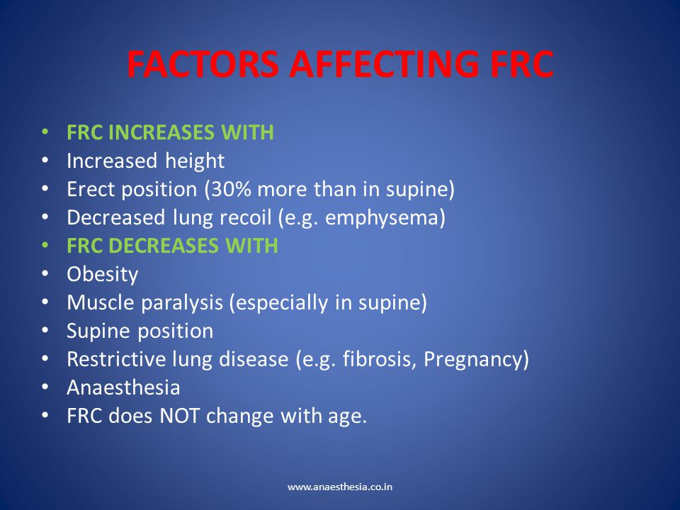 FACTORS AFFECTING FRC FRC INCREASES WITH Increased height