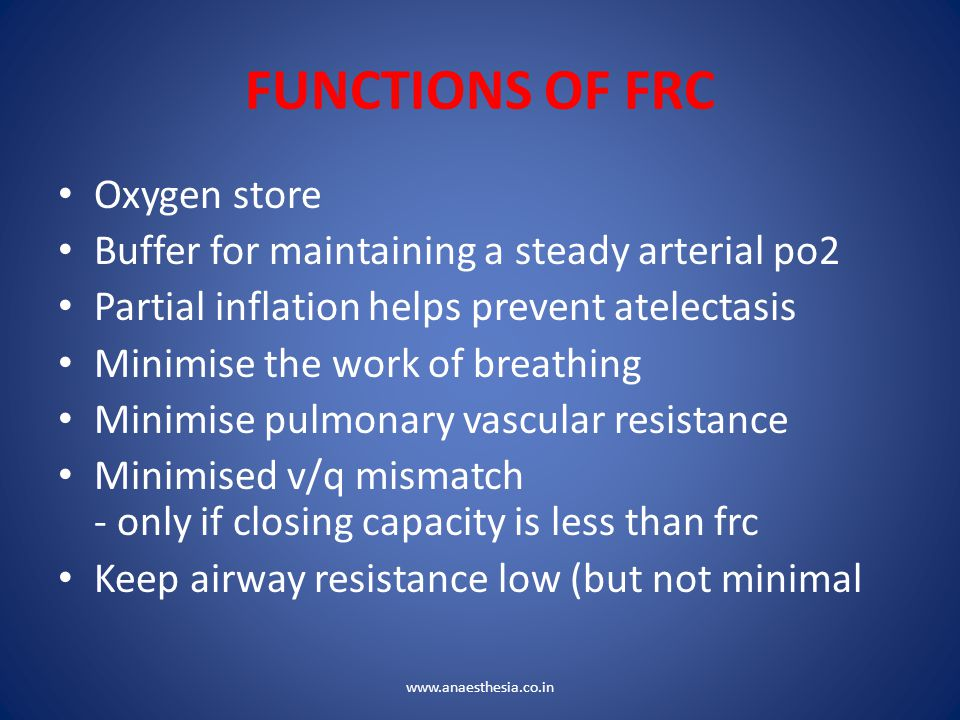 FUNCTIONS OF FRC Oxygen store