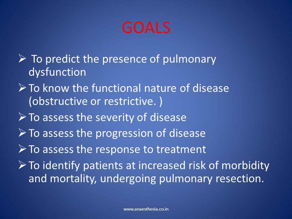 GOALS To predict the presence of pulmonary dysfunction