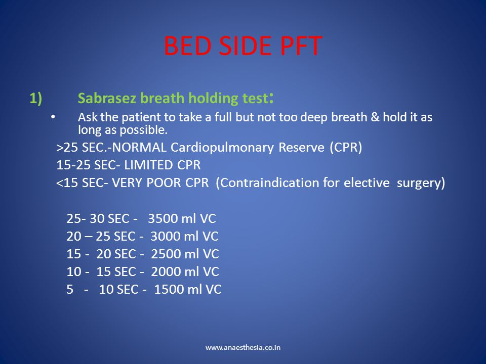 BED SIDE PFT Sabrasez breath holding test: