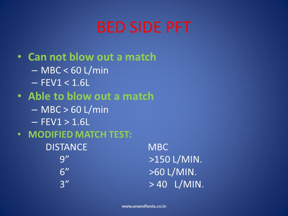 BED SIDE PFT Can not blow out a match Able to blow out a match