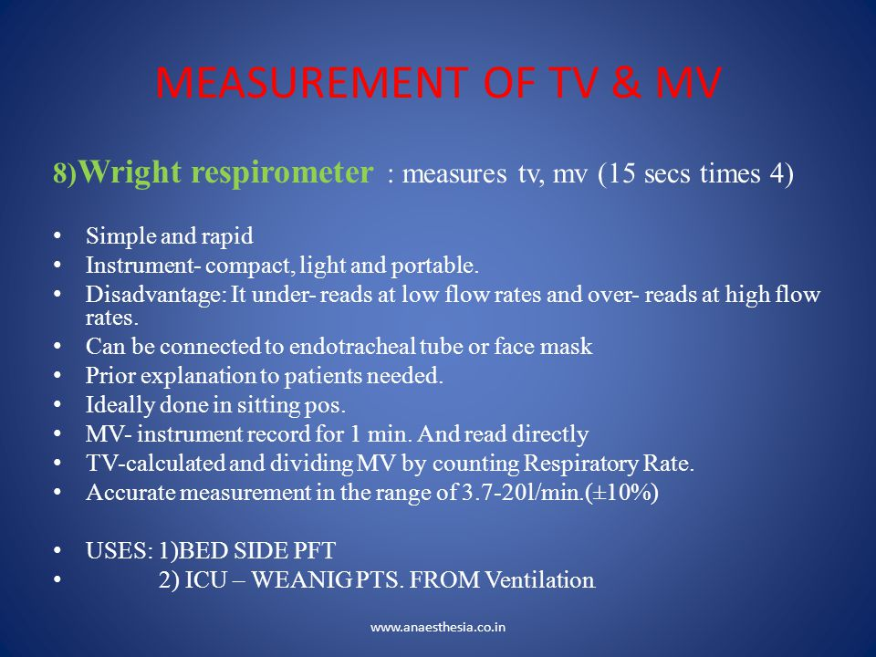 MEASUREMENT OF TV & MV 8)Wright respirometer : measures tv, mv (15 secs times 4) Simple and rapid.
