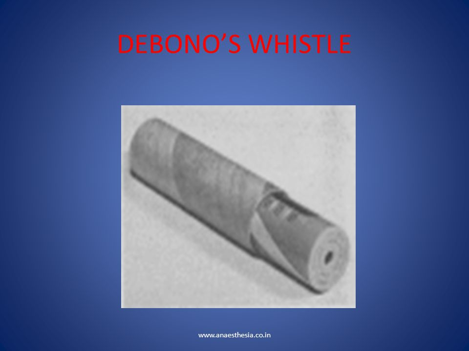 DEBONO'S WHISTLE www.anaesthesia.co.in