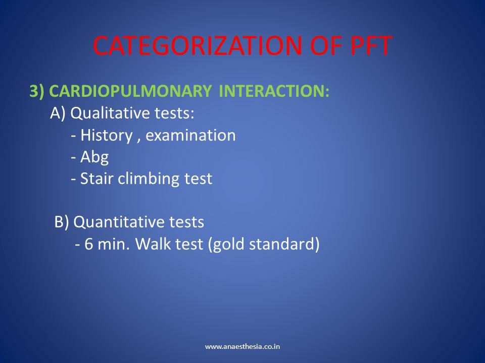 CATEGORIZATION OF PFT 3) CARDIOPULMONARY INTERACTION: