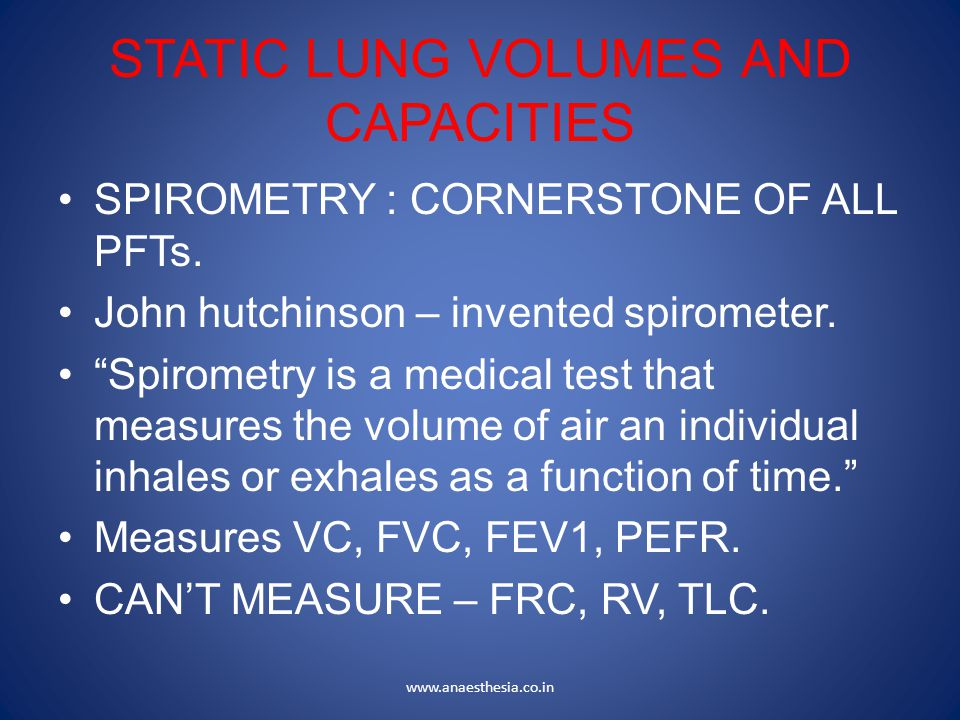 STATIC LUNG VOLUMES AND CAPACITIES