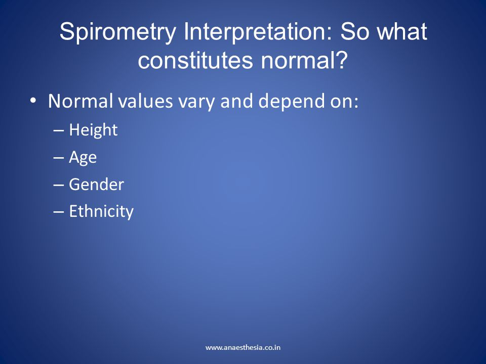 Spirometry Interpretation: So what constitutes normal