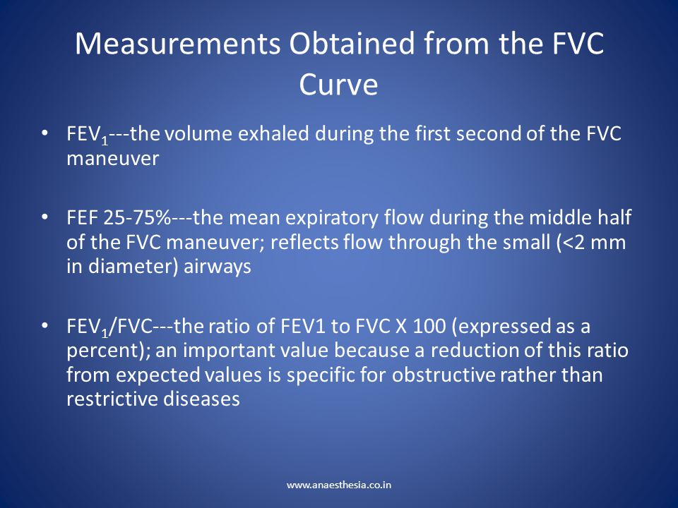 Measurements Obtained from the FVC Curve