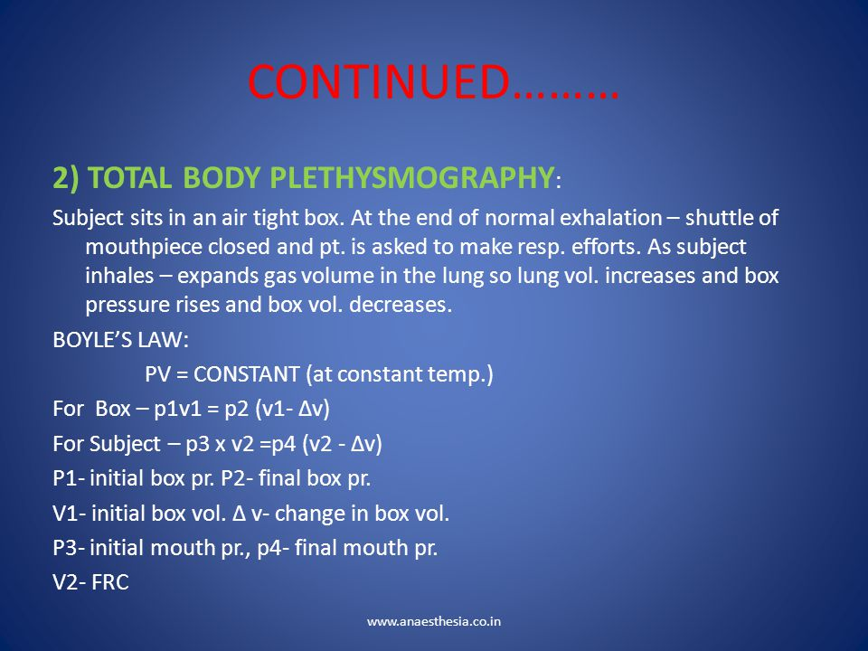 CONTINUED……… 2) TOTAL BODY PLETHYSMOGRAPHY: