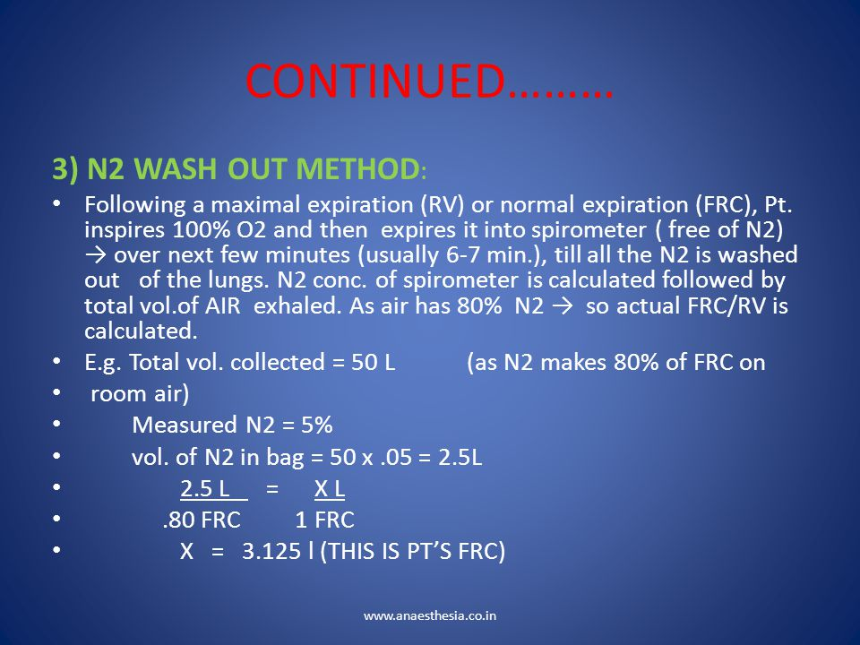CONTINUED……… 3) N2 WASH OUT METHOD: