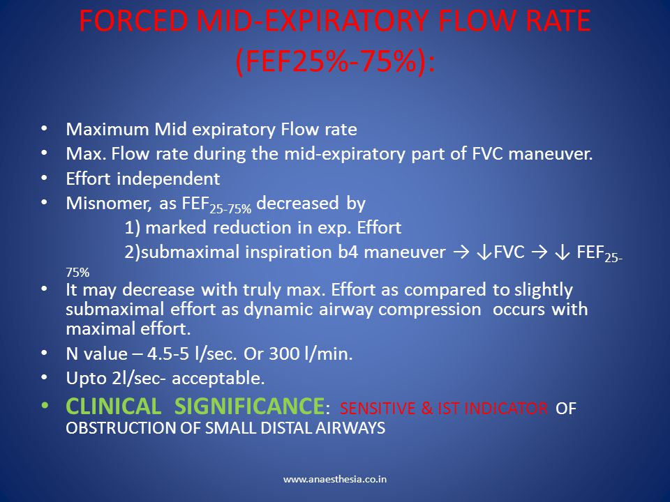 FORCED MID-EXPIRATORY FLOW RATE (FEF25%-75%):