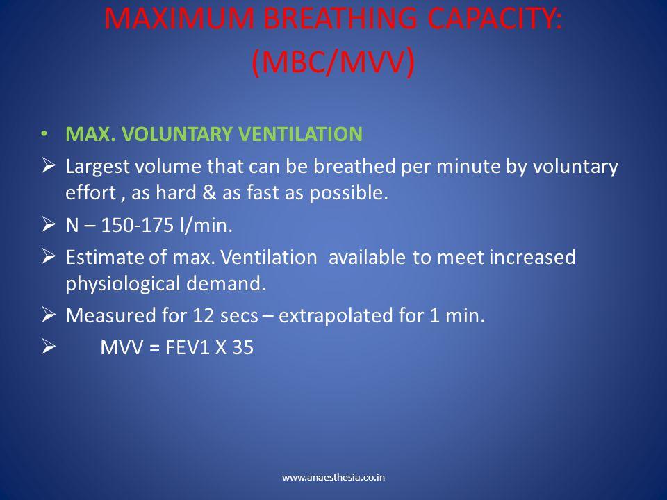 MAXIMUM BREATHING CAPACITY: (MBC/MVV)