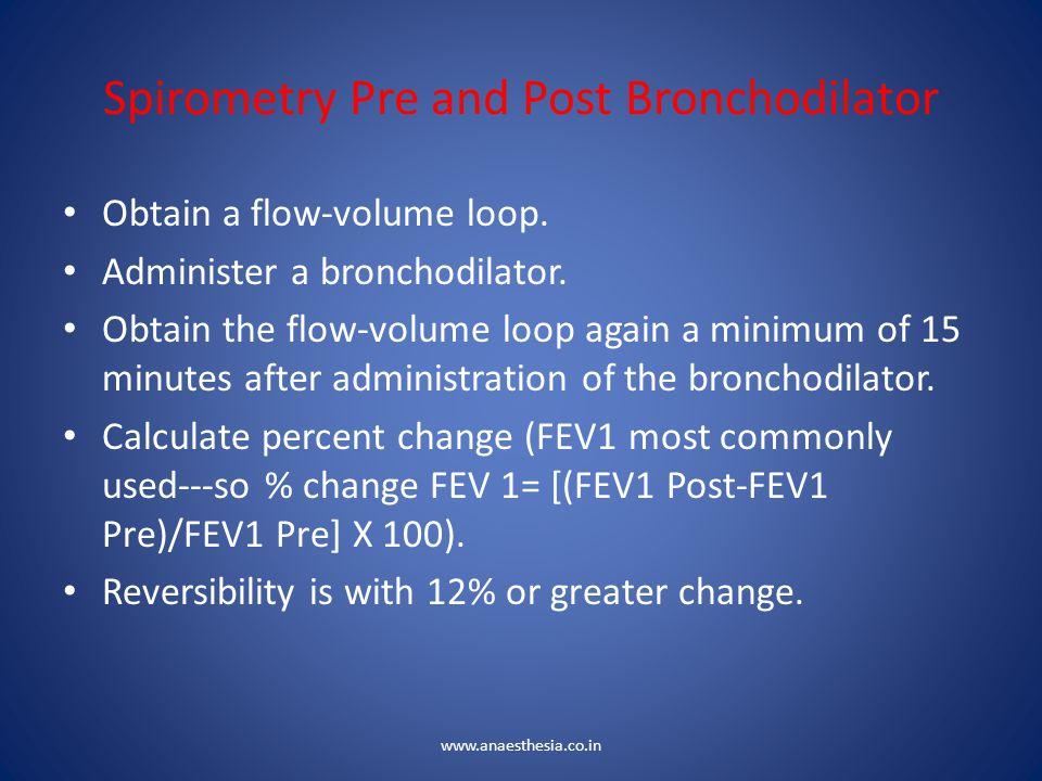 Spirometry Pre and Post Bronchodilator