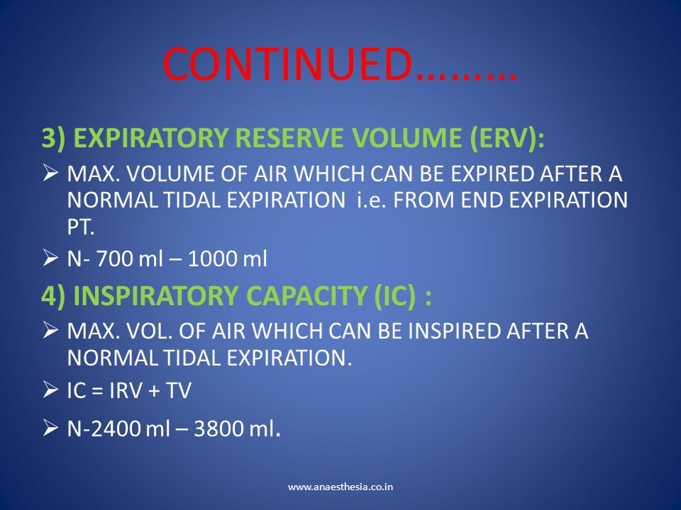 CONTINUED……… 3) EXPIRATORY RESERVE VOLUME (ERV):