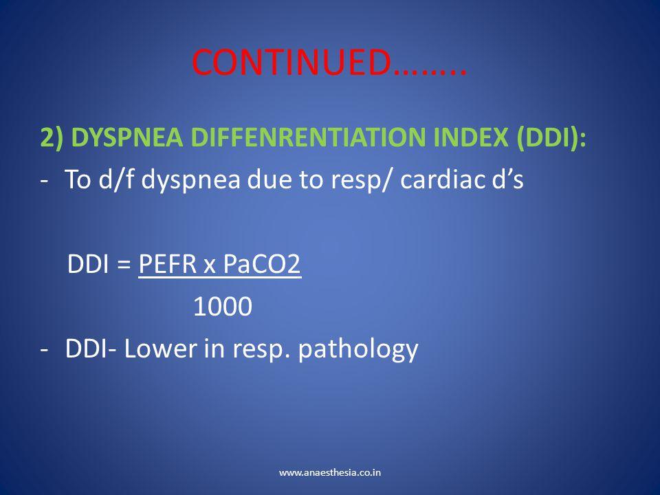 CONTINUED…….. 2) DYSPNEA DIFFENRENTIATION INDEX (DDI):