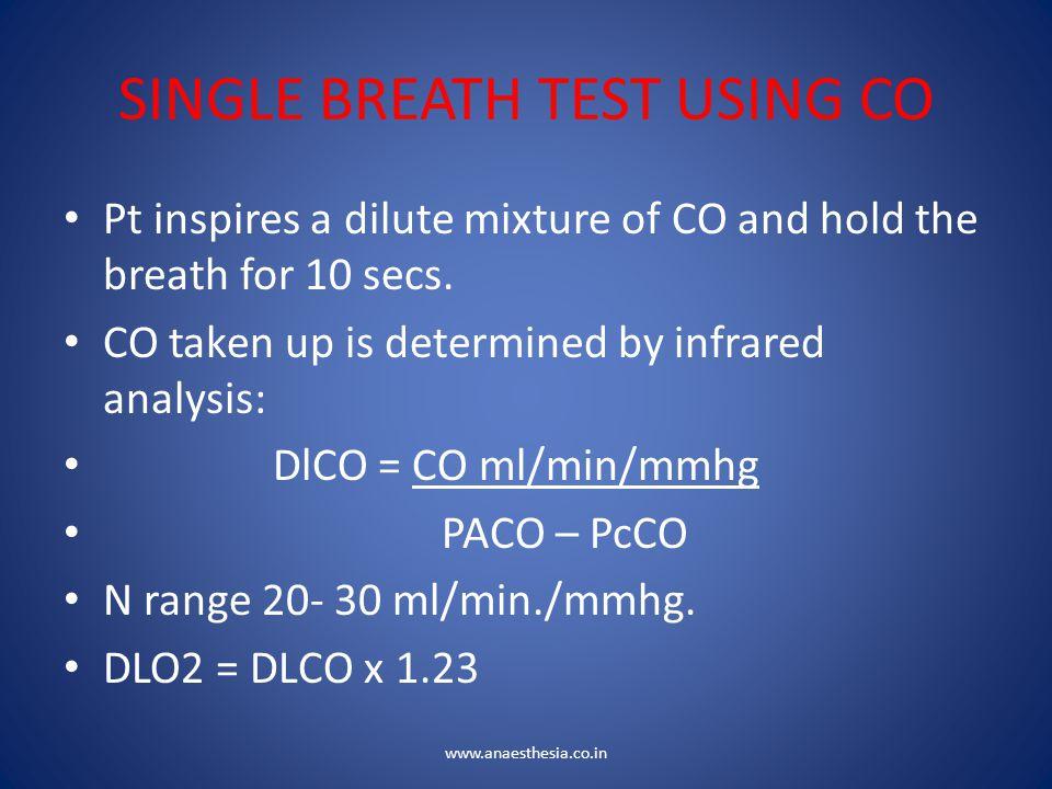 SINGLE BREATH TEST USING CO
