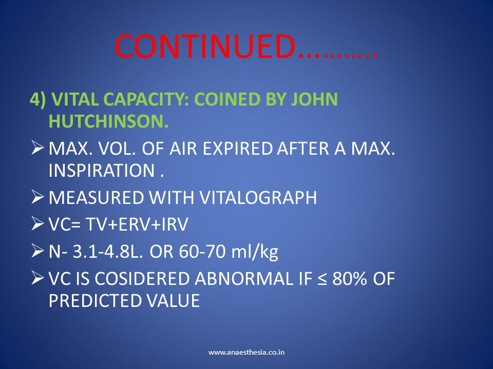 CONTINUED……….. 4) VITAL CAPACITY: COINED BY JOHN HUTCHINSON.