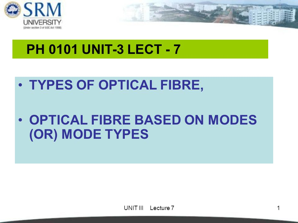 OPTICAL FIBRE BASED ON MODES (OR) MODE TYPES