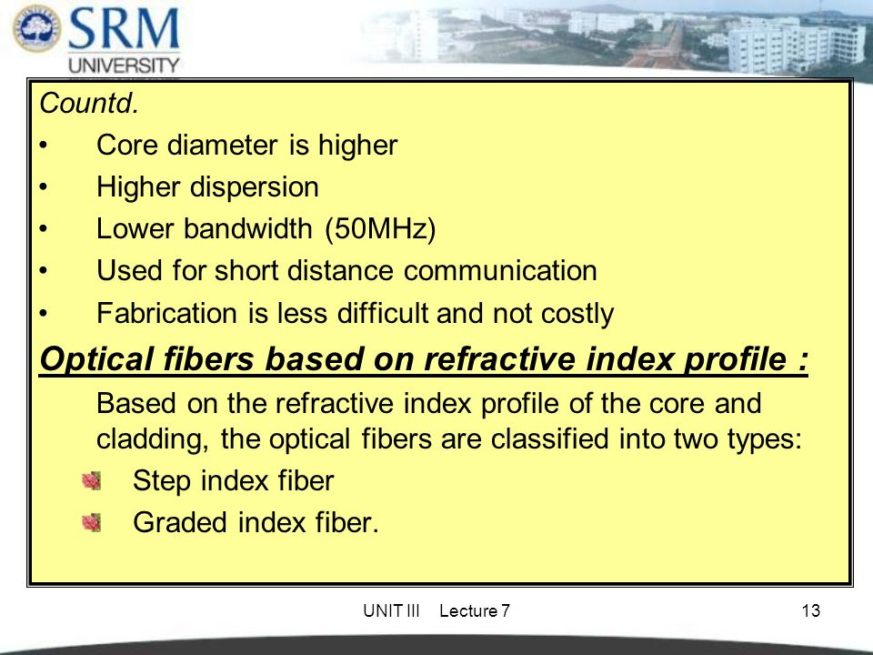 Optical fibers based on refractive index profile :