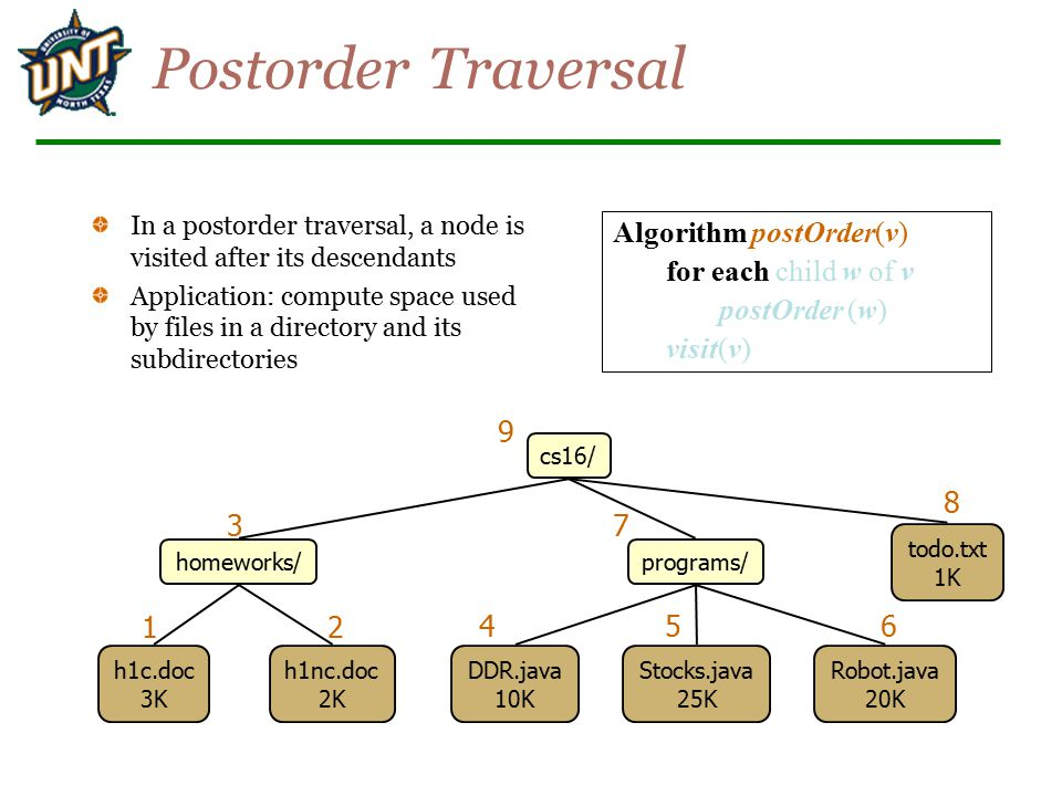 Postorder Traversal Algorithm postOrder(v) for each child w of v
