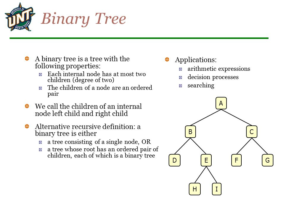Binary Tree A binary tree is a tree with the following properties: