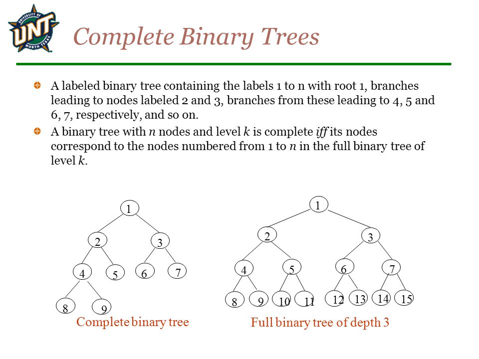 Full binary tree of depth 3