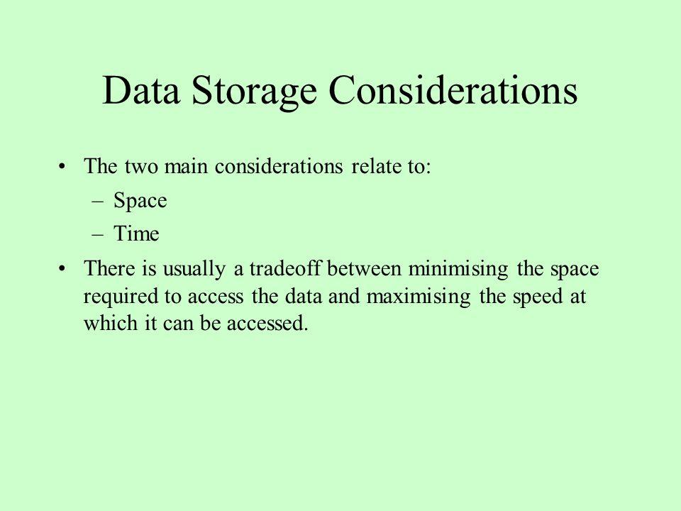 Data Storage Considerations