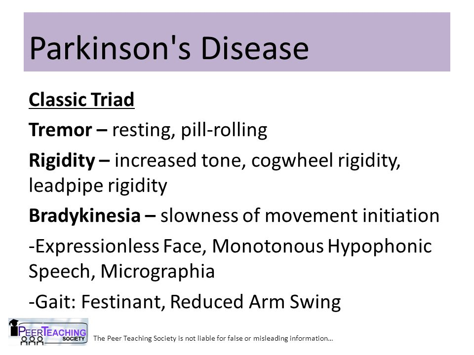 Parkinson s Disease Classic Triad Tremor – resting, pill-rolling