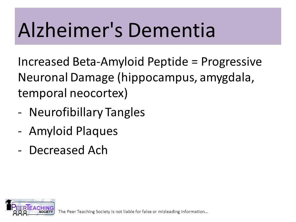 Alzheimer s Dementia Increased Beta-Amyloid Peptide = Progressive Neuronal Damage (hippocampus, amygdala, temporal neocortex)