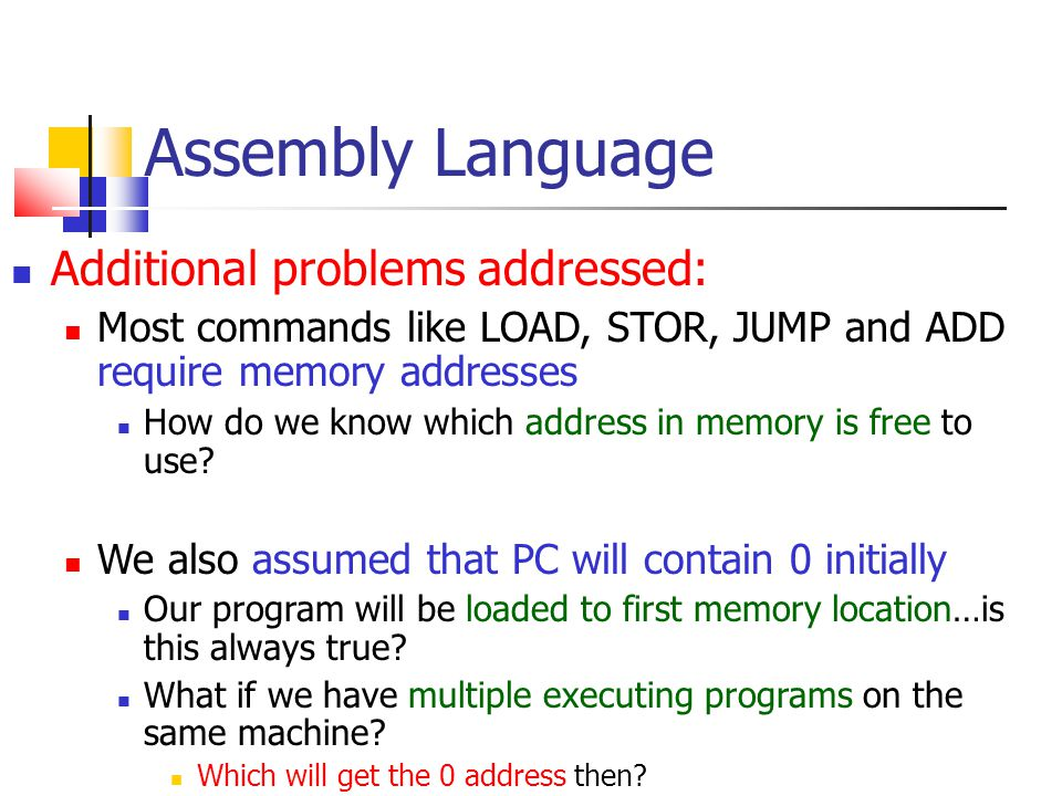 Assembly Language Additional problems addressed:
