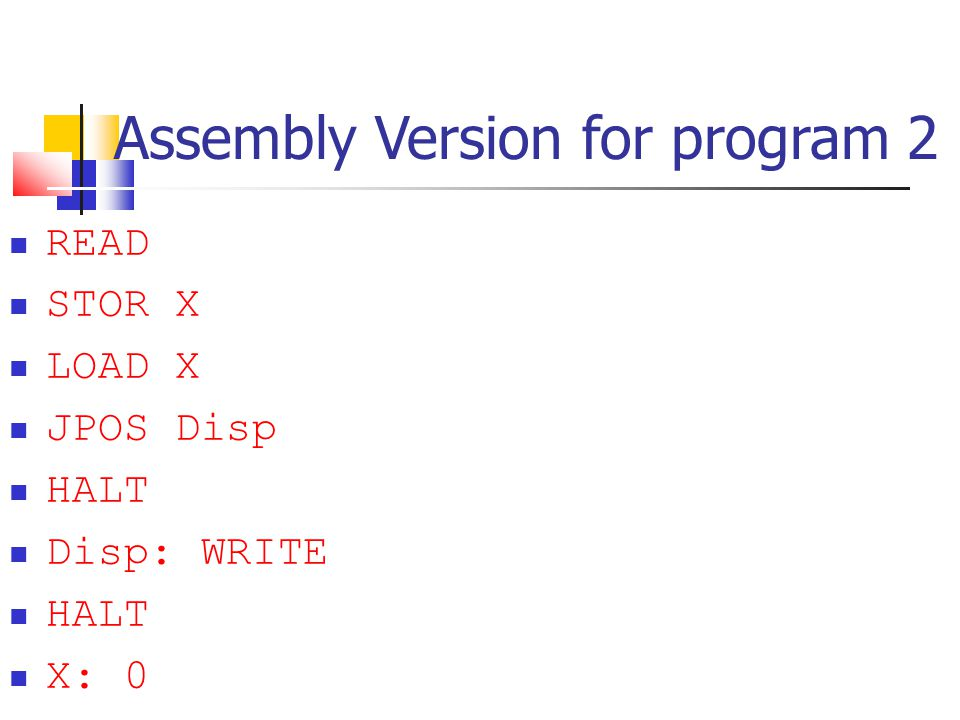 Assembly Version for program 2
