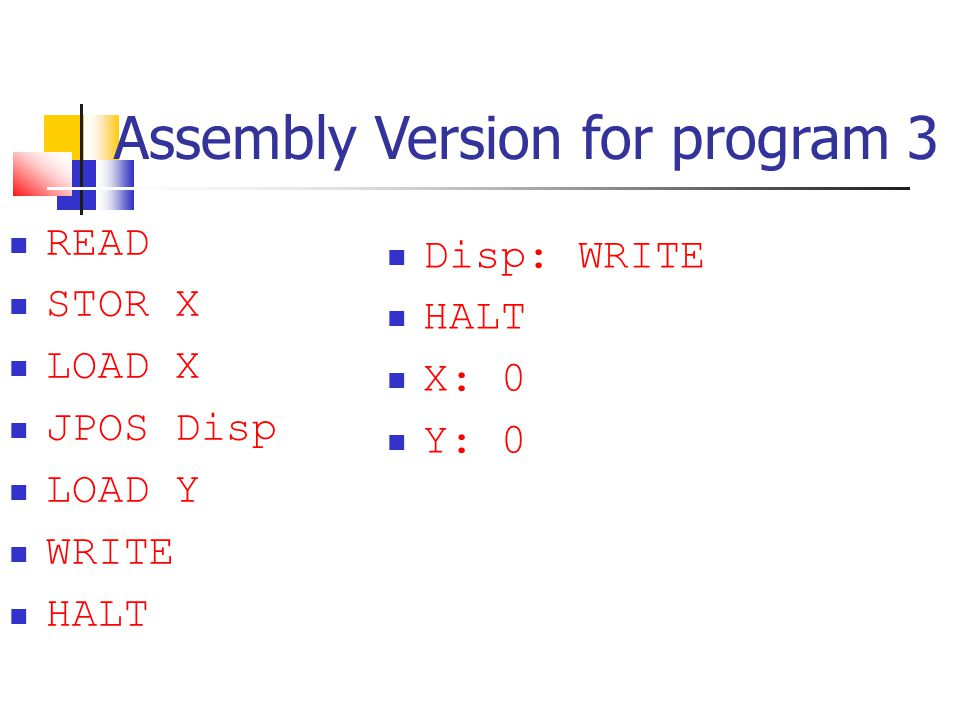 Assembly Version for program 3