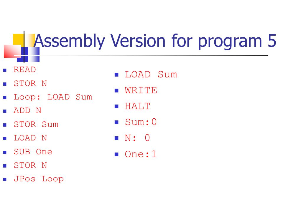 Assembly Version for program 5