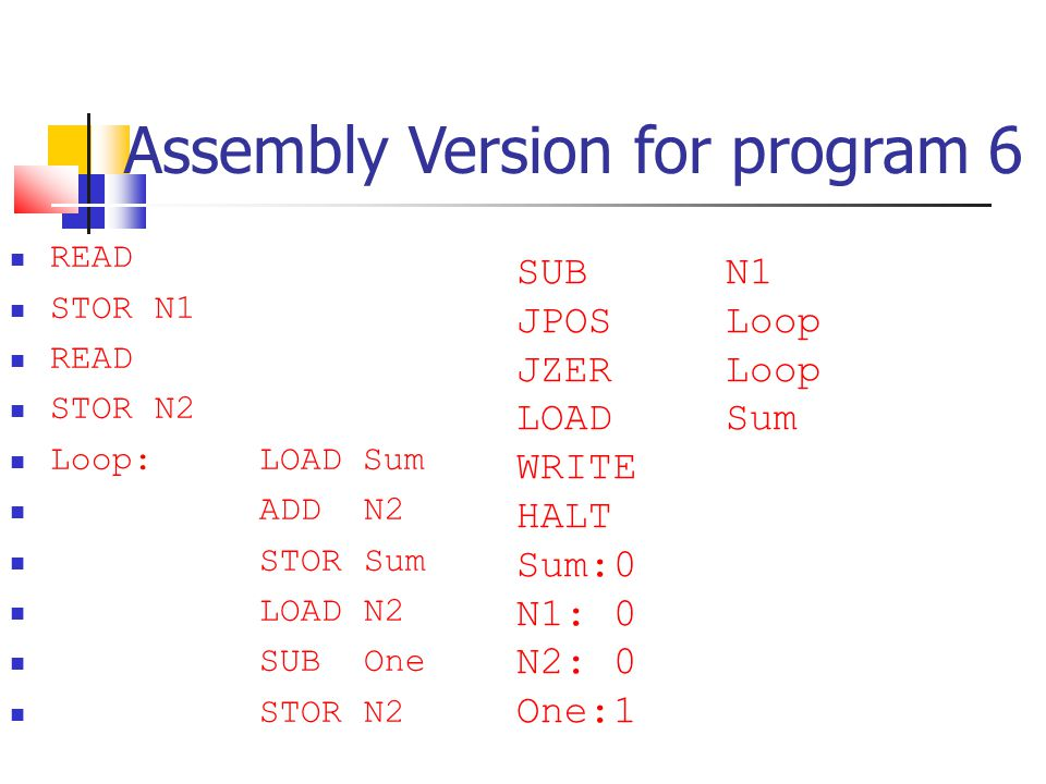 Assembly Version for program 6