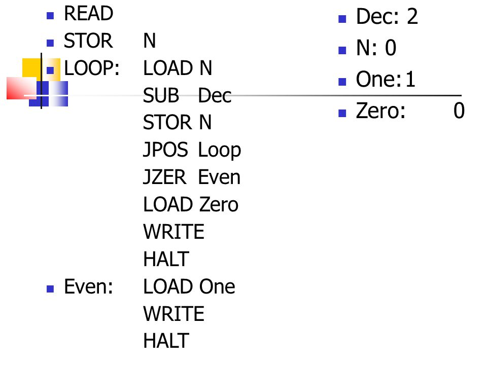Dec: 2 N: 0 One: 1 Zero: 0 READ STOR N LOOP: LOAD N SUB Dec STOR N