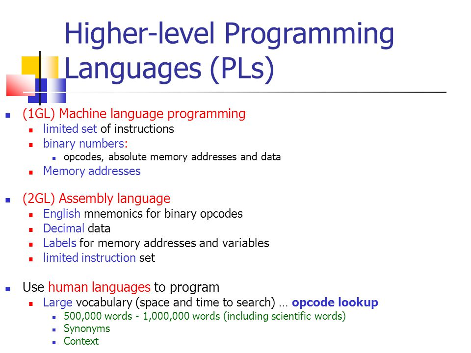 Higher-level Programming Languages (PLs)