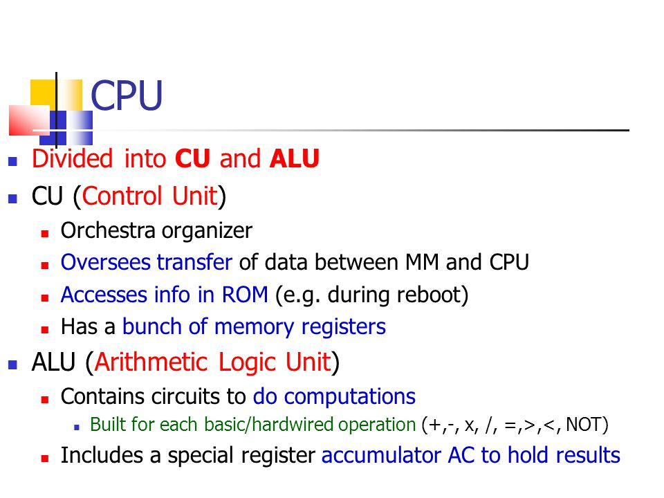 CPU Divided into CU and ALU CU (Control Unit)