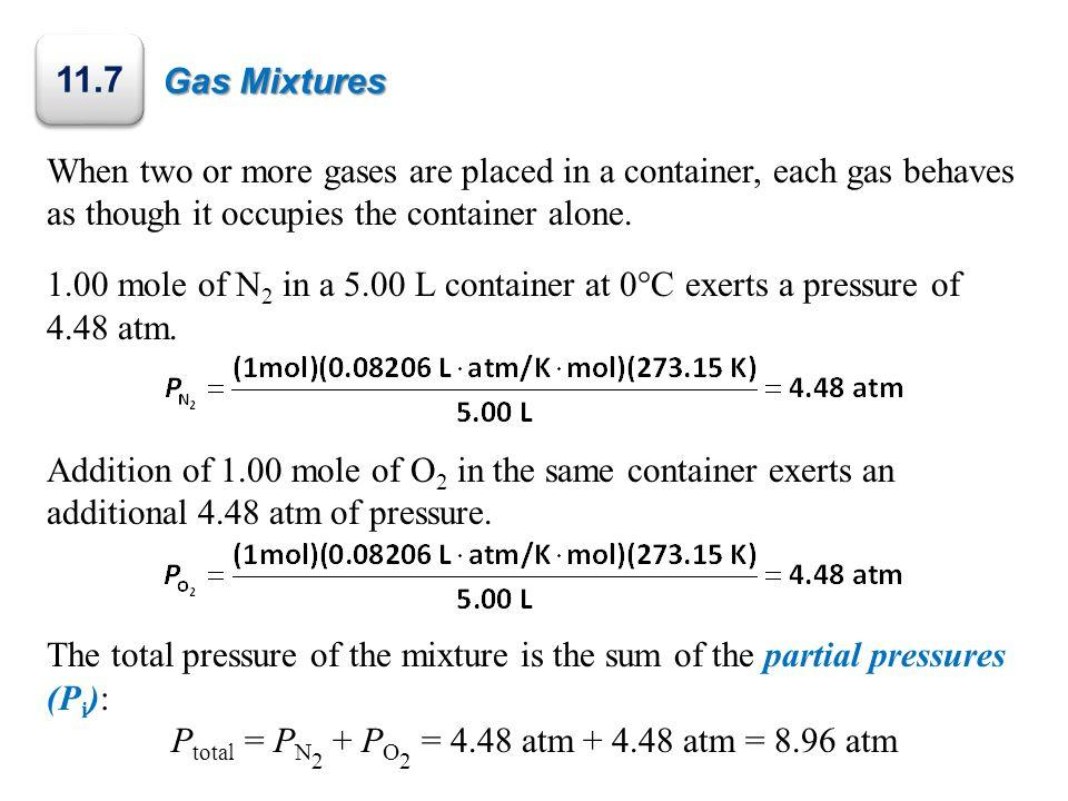 Ptotal = PN2 + PO2 = 4.48 atm + 4.48 atm = 8.96 atm