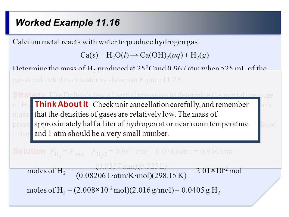 Ca(s) + H2O(l) → Ca(OH)2(aq) + H2(g)